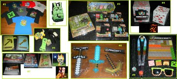 Minecraft Items Plush Posters Toys Backpack Magnets Pins Lanyard Foam Weapons + in Kingwood, Texas