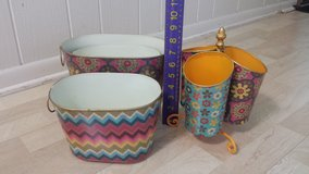 Beautiful Boho Chic Tin Containers - 5 pieces in Lockport, Illinois