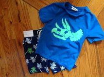 Baby/Toddler Boy Dino Palm tree swim shirt (5T) and shorts (5T) in Macon, Georgia