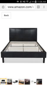 Black leatherette platform bed queen in The Woodlands, Texas