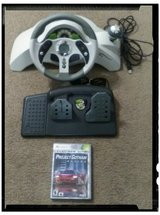 Xbox 360 Mc2 steering wheel with pedals and game in Hinesville, Georgia