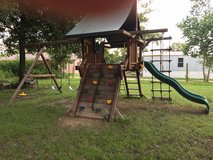 Tree Frogs Wood Swing Set Play Center Rock Wall Swings Ropes Slide in Kingwood, Texas