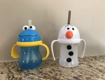 Olaf and Cookie Monster straw, leak-proof toddler cups in Naperville, Illinois