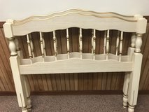 Headboard/footboard for twin size bed. White with gold trim in Bolingbrook, Illinois