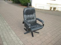 genuine black leather swivel chair in Ramstein, Germany