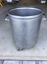 Metal scrap bucket garbage can with caster wheels in Ramstein, Germany
