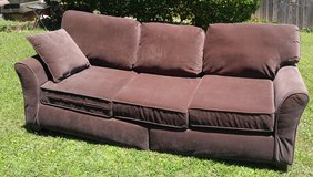 chocolate brown microsuede six cushion couch in Fort Campbell, Kentucky