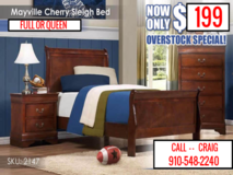 New Queen Cherry Sleigh Bed, Still in box in Camp Lejeune, North Carolina