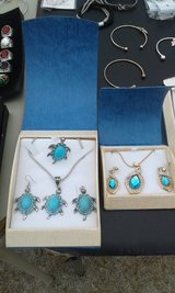 Turtle Turquoise Tibetan Silver Set in Camp Lejeune, North Carolina