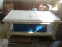 Large White Wicker Coffee Table/Entertainment Center in Camp Lejeune, North Carolina