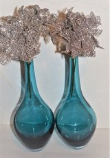 2 Heavy Teal Blue Vases - New in Fort Campbell, Kentucky