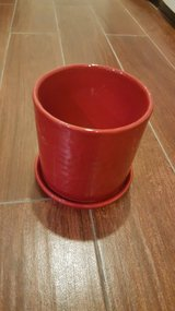 Crate and Barrel Deep Red Planter Pot and base in St. Charles, Illinois