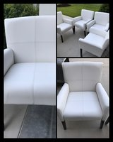 4 New White Faux Leather Arm Chairs in Beaufort, South Carolina