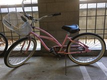 pink beach cruiser with basket in Los Angeles, California
