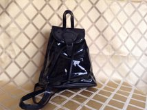 Women backpack in patent leather in 29 Palms, California