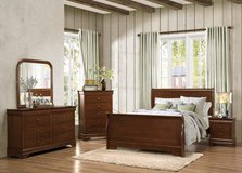 NEW Cherry Queen Bedroom ,5 piece set,still in box in Camp Lejeune, North Carolina