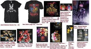 Five Nights At Freddy's FNAF Items Lot Shirt Plush Ornaments Keychains + in Houston, Texas