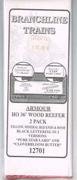 HO Scale Branchline Trains 2 Pack of Armour 36' Wood Reefers in 2 Versions in Joliet, Illinois