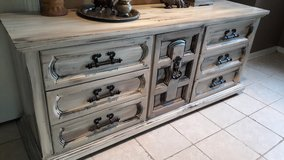 Large Rustic Grey and Cream Dresser in Baytown, Texas