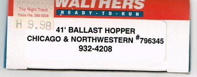 HO Scale Walthers 41' Ballast Hopper painted as Chicago & Northwestern # 796345 in Joliet, Illinois
