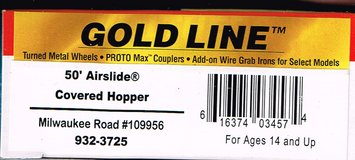 HO Scale Walthers Gold Line 50' Airslide Covered Hopper painted as Milw Rd # 109956 in Joliet, Illinois