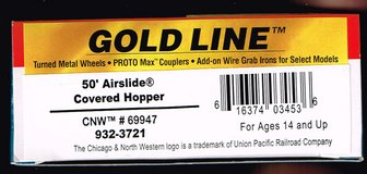 HO Scale Walthers Gold Line 50' Airslide Covered Hopper Painted as CNW # 69947 in Joliet, Illinois