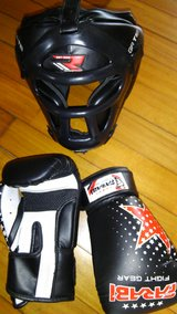 Youth Kickboxing gloves and head cover in Okinawa, Japan