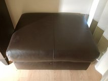 brown leather ottoman Great Condition! in Okinawa, Japan