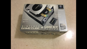 Silver boxed gamecube with player and disk in Okinawa, Japan