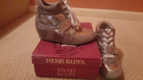Girls size 2 wedge shoes WORN ONCE ONLY! in Joliet, Illinois