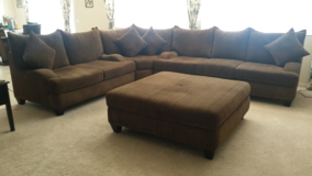 Large Coco-colored Sectional Couch with Oversized Ottoman in Lake Elsinore, California