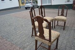 4  ANTIQUE SOLID WOOD DINING ROOM Chairs around 1910  with carving legs in Wiesbaden, GE