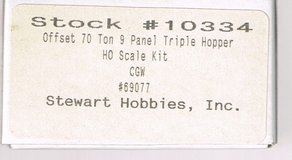 HO Scale-Stewart Hobbies kit of a Offset 70 Ton 9 Panel Tripple Hopper painted as CGW # 69077 in Joliet, Illinois
