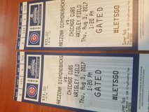 Cubs Tickets Aug 3rd against the AZ Diamondbacks. Start time 1:20 PM in Glendale Heights, Illinois