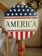 """America"" tin wall hanging in Chicago, Illinois"