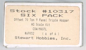 HO Scale Stewart Hobbies KIT for a Offset 70 Ton 9 Panel Triple Bay Hopper painted as CGW # 69052 in Joliet, Illinois