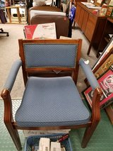 Elegant Paoli Solid burled wood frame studded fabric padded seat back & arms Arm Chair in Naperville, Illinois