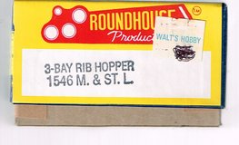 HO Scale Roundhouse Products KIT for a 3 Bay Rib Side Hopper pained for the M. &. St. L.  # 66599 in Chicago, Illinois
