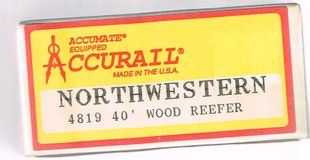 HO Scale Accurail KIT of a Chicago Northwestern 40' Wood Reefer # 8073 in Chicago, Illinois