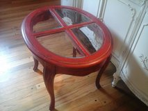 Country french red oval table in Plainfield, Illinois
