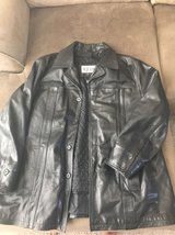 men's black leather coat XXL in Plainfield, Illinois