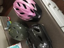 Helmets and bike lock in Fort Campbell, Kentucky
