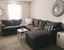 Large Dark Gray Sectional with Chaise - Like NEW (will deliver) in Clarksville, Tennessee