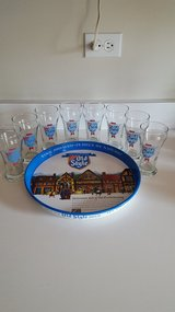 16 Vintage OLD STYLE Heileman's mini Beer Glasses w/Tray in Naperville, Illinois
