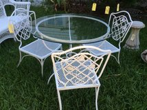 4- Piece Wrought Iron Glass Top Table & Chairs- New Price in Beaufort, South Carolina