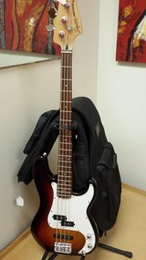 Squier electric precision bass guitar / bag / stand in Bartlett, Illinois
