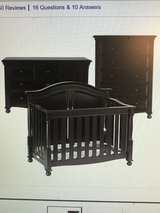 JCP Bedford Baby Monterey Crib, Chest, Dresser/ Chocolate/ High End/Gently Used in Byron, Georgia