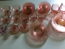 Old pink dishes in Great Lakes, Illinois