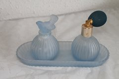 Vintage blue frosted glass perfume atomizer with tray perfume bottle set LAST CHANCE! in Fort Campbell, Kentucky