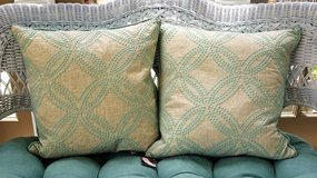 NEW Pair of Linen & Aqua Turquoise Embroidered Down Throw Pillows in Oklahoma City, Oklahoma